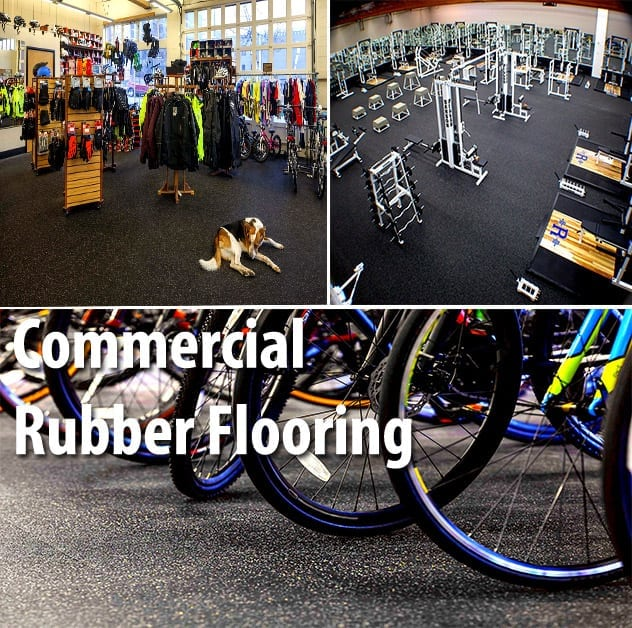 Photos of rubber flooring used in fitness gym, retail store, and bicycle rack area.