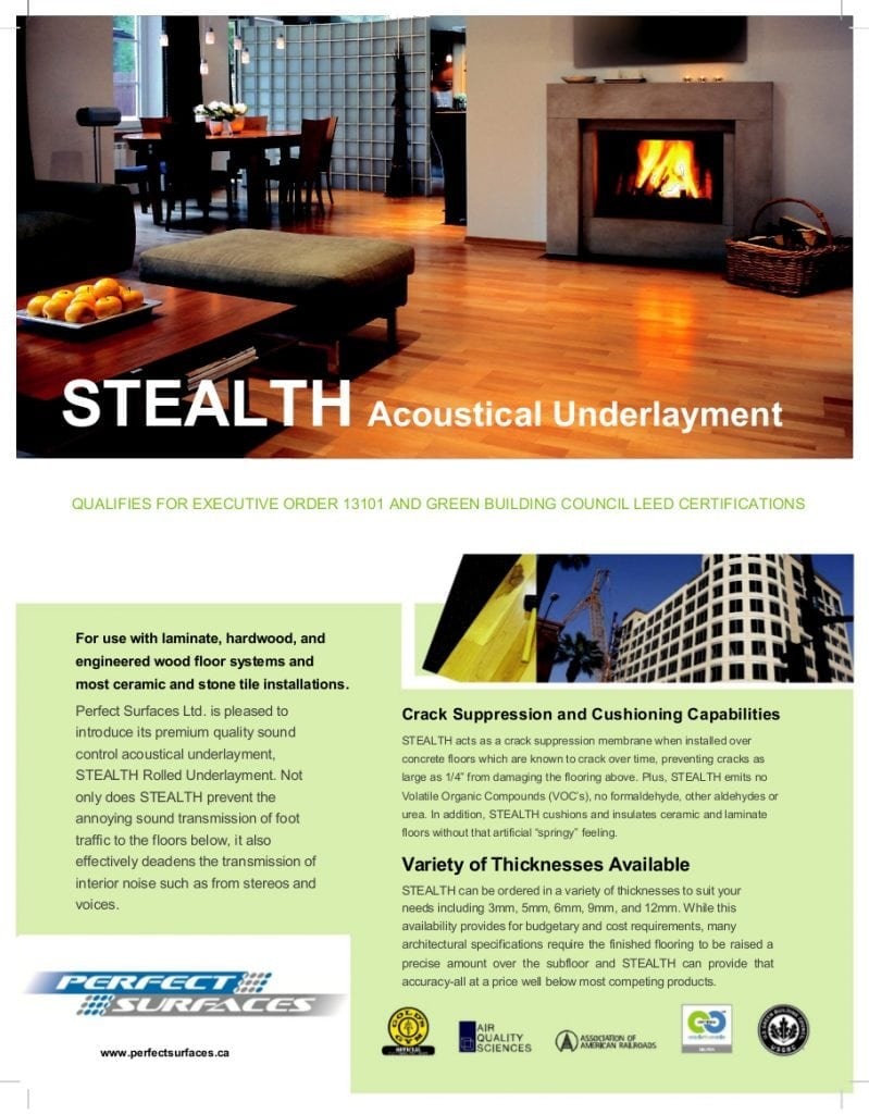 Stealth Acoustic Underlayment Perfect Surfaces