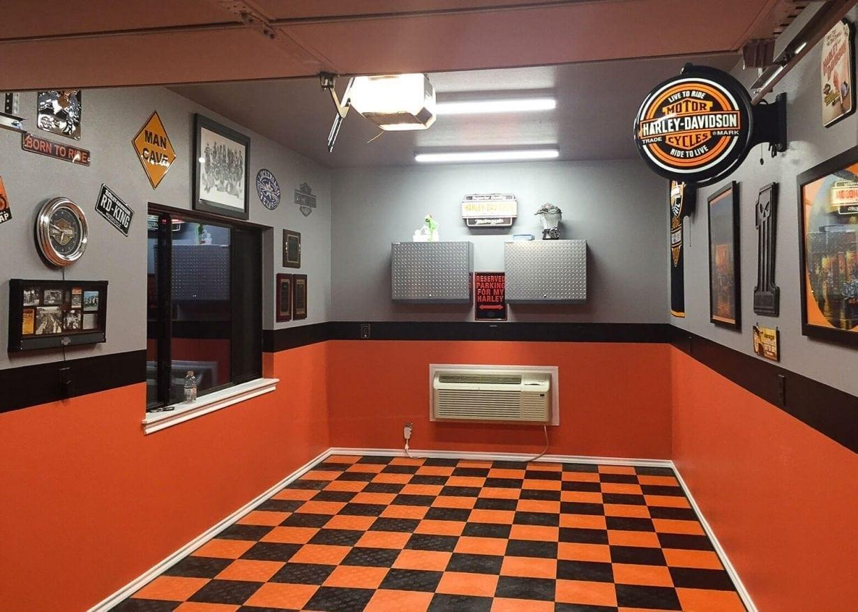 Small Harley Themed Garage Perfect Surfaces