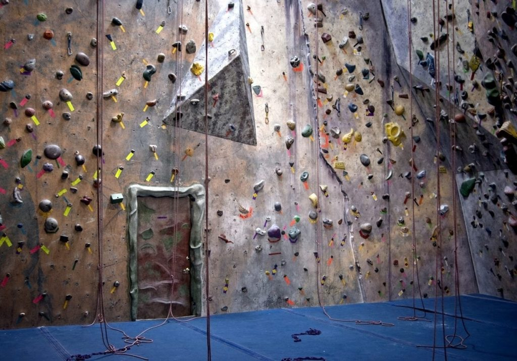 Colorful indoor rock climbing wall